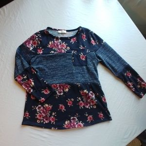 Tops - Floral and blue shirt